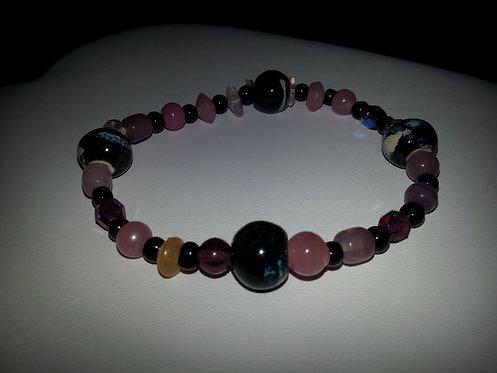 Black & Pink Bead Stretchy Handmade Bracelet
