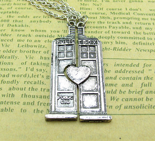 Couples TARDIS Necklace Set