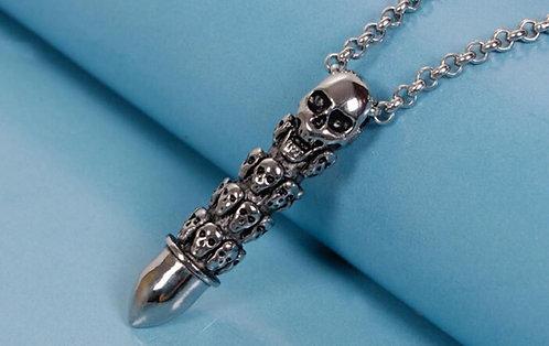 Skull Bullet Silver Death Shoot Necklace