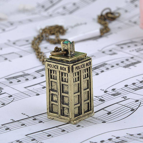 Retro Bronze Police Box Necklace Doctor Who