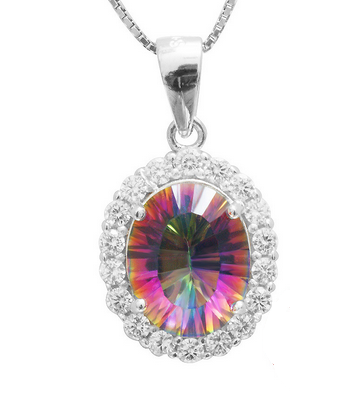 2.5 ct Fire Topaz Pendant Silver Necklace