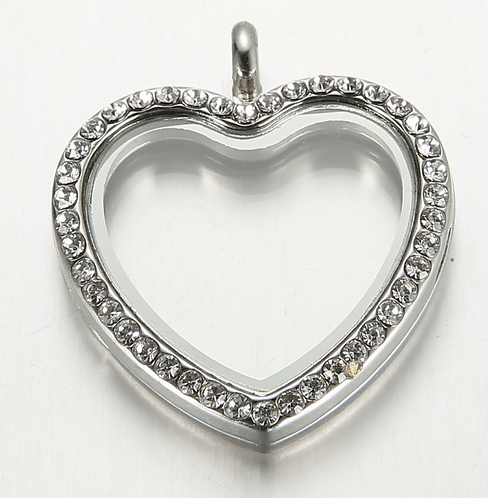 Heart Floating metal charms for glass Origami Owl