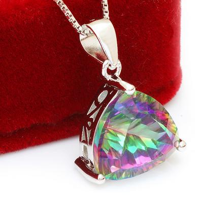 4ct Rainbow Fire Topaz Triangle Necklace