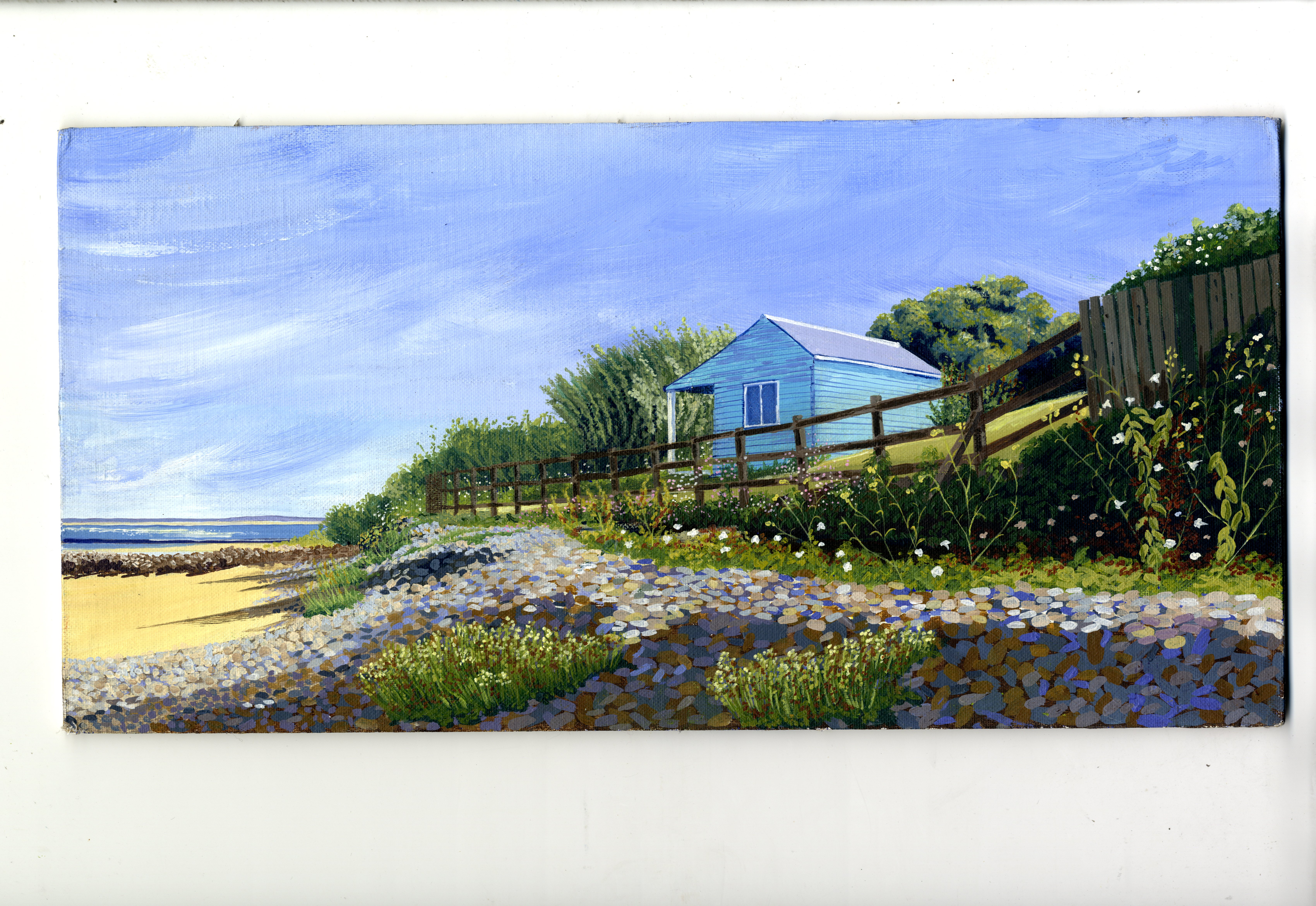 Alnmouth Beach - Bridget March - limited edition print  - 25 x 12 - $40