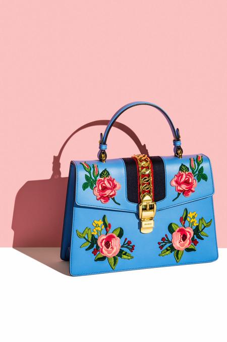 Gucci blue floral bag - Editorial still life