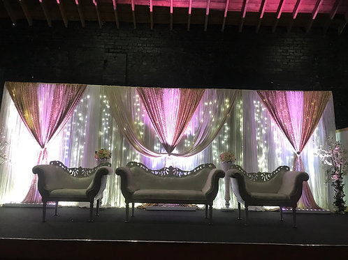Stage deco Led backdrop with chairs