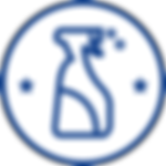 Bleu sur blanc flacon pulvérisateur