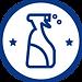 Azul en botella de spray blanco