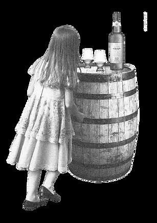 cartoon girl with drinks