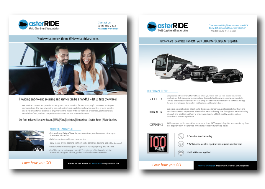 asterRIDE trade show promotional flyer