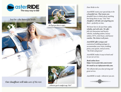 asterRIDE promo targeting wedding planners