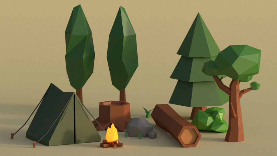 low-poly 3D model, adventure, survival, trees, camp