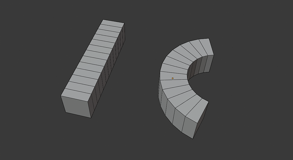 modelado 3d, malla poligonal, blender, modificadores, simple deform, blend