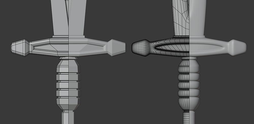 animación, subdivisión, modelado 3d, espada