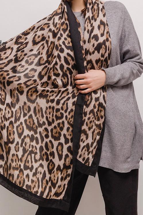 Leopard tørklæde kolde farver