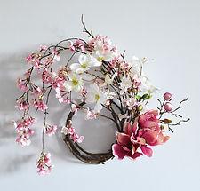 春 フラワーアレンジ リース 桜 マグノリア ハナミズキ ピンク PRIMA ¥8,000+税
