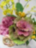 正月フラワーアレンジ ハボタン パープル ピンク PRIMA 横浜店