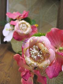 正月フラワーアレンジ 椿 和柄 ピンク PRIMA 横浜店
