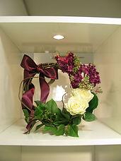 PRIMA池袋店 パープル ピンク ライラック ローズ リースアレンジ 12,000+税