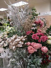クリスマス 花・フラワー・ポインセチア・バラ・シャンパンゴールド・ピンク 横浜店