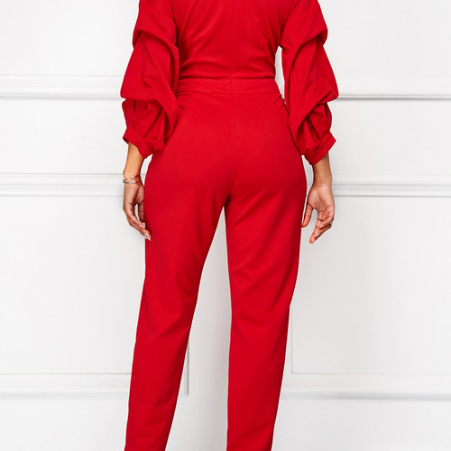 3ab1a1afdb1b Red Lantern Sleeve High Waist V Neck Jumpsuit