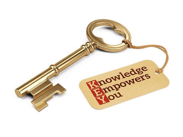 Golden key with Knowledge Empowers You tag isolated on white.3D rendering.jpg