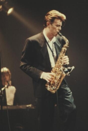 David Bowie playing sax