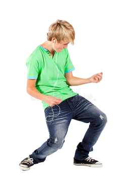 Picture of kid playing air guitar