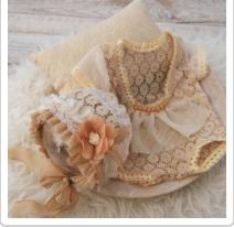Tan and Cream Lace Sitter Bonnet