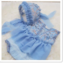 Periwinkle Lace Romper Bonnet Set