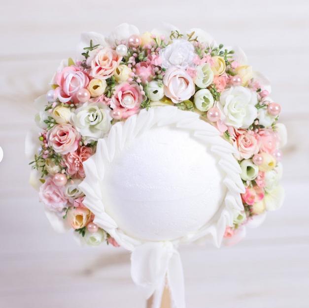 Blush & Cream Floral Bonnet