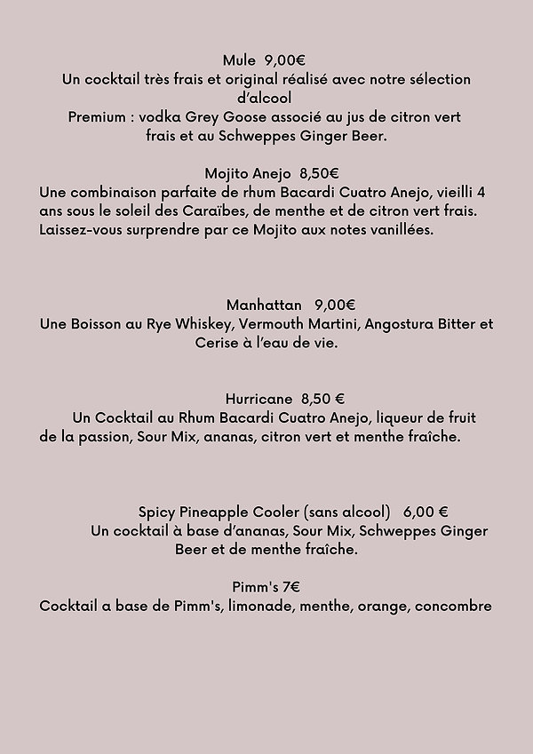 COCKTAILS 16cl Fiero Spritz 8,00 € Un délicieux Spritz à l'amertume légère, au goût de man