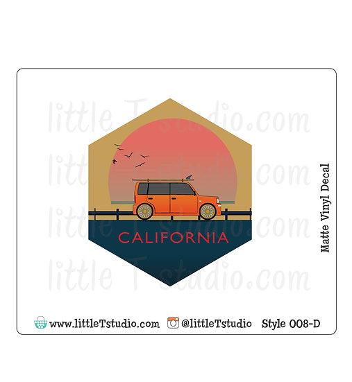 California Warm Sunset - Vinyl Decal Matte Finish - Style 008-D