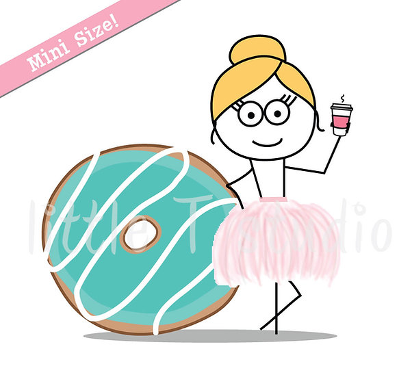 Busy Ballerina Mini Size - Donut Day Diet Cheat Day Stickers - Style 223M