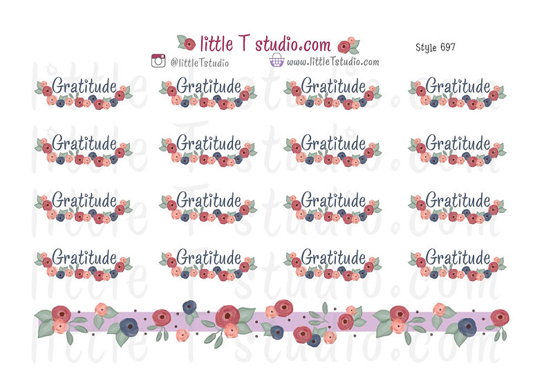 Gratitude Floral Stickers - Style 697