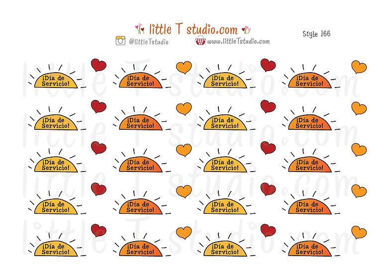 Día de Servicio Reminder Stickers - Style 166