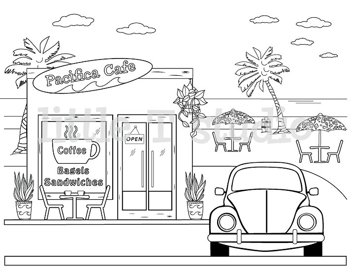 Coffee House on the Beach Coloring Page