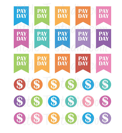 Pay Day Reminder Mini Stickers - Style 062M