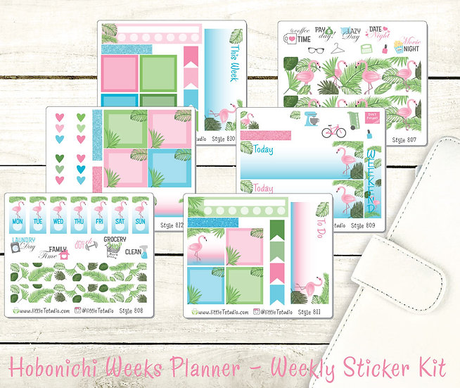 Hobonichi Weeks - Weekly Deluxe 6 Sheet Sticker Kit - Flamingo - Styles 807-812