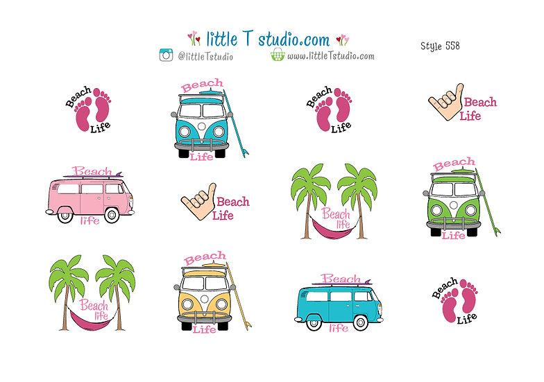 Beach Life Stickers - Style 558