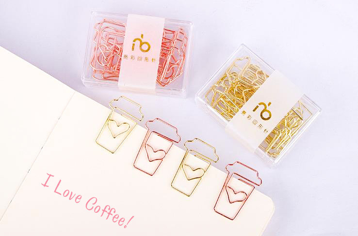 I Love Coffee Rose Gold Paper Clip 4 Piece Set