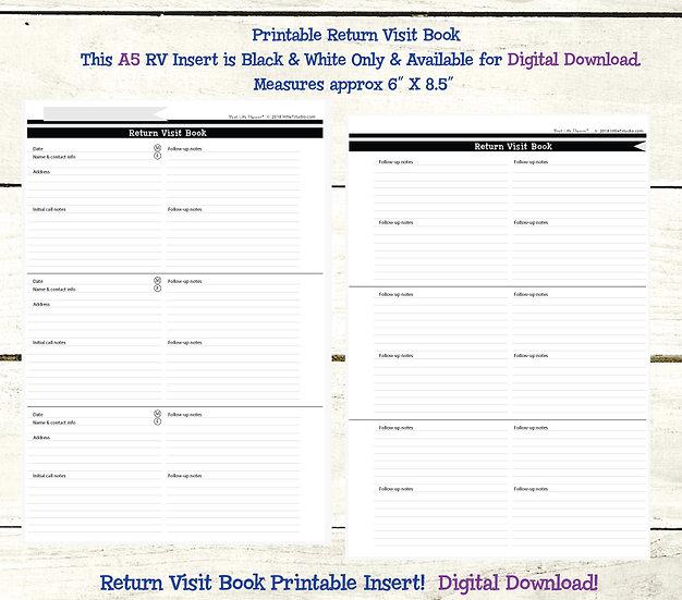 A5 Return Visit Book - Printable PDF - Black/White/Grey