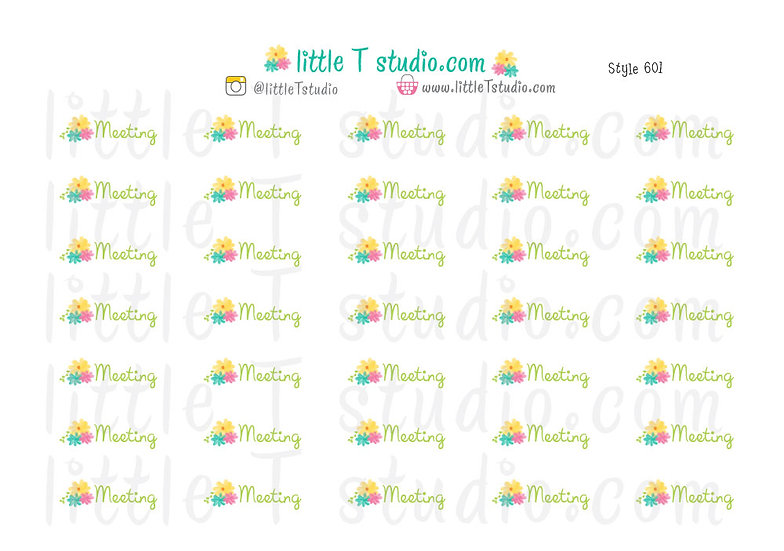 Meeting Floral Script Reminder Stickers - Style 601