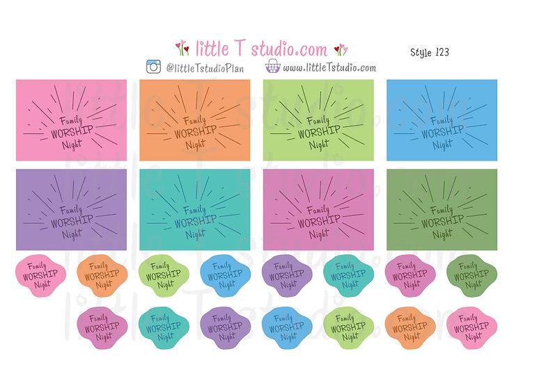 Family Worship Night Reminder Stickers - Style 123