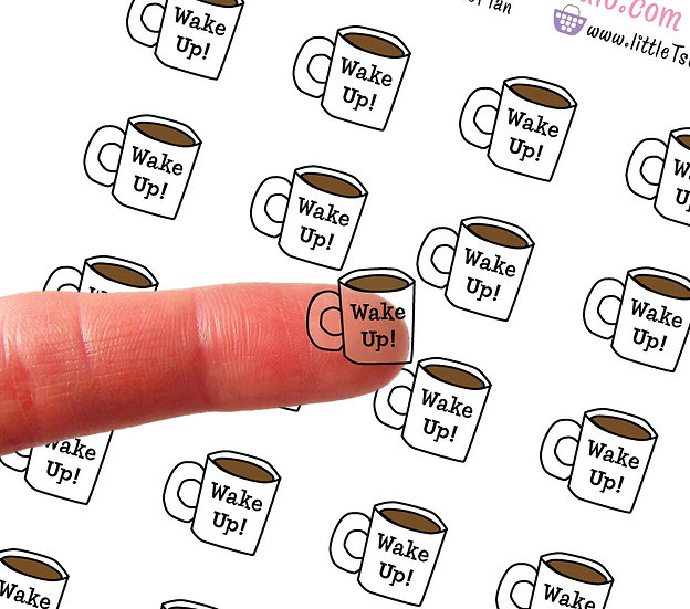Clear Mini Coffee Cup Wake Up Stickers - Style 005CL