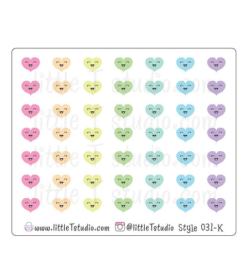 Kawaii Stickers - Happy Hearts - Style 031-K