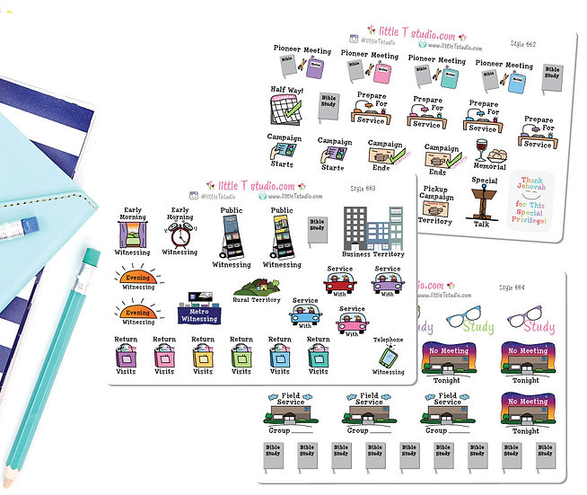 Ultimate Pioneer Sampler Sticker Set 3 Sheets - Styles 662, 663, 664
