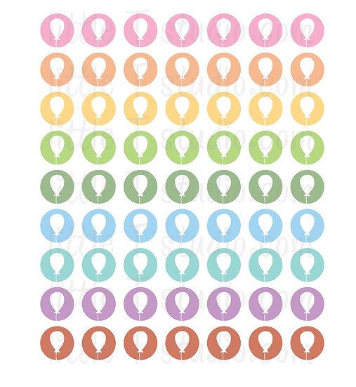Party Balloon Icon Micro Mini Stickers - Style 070M