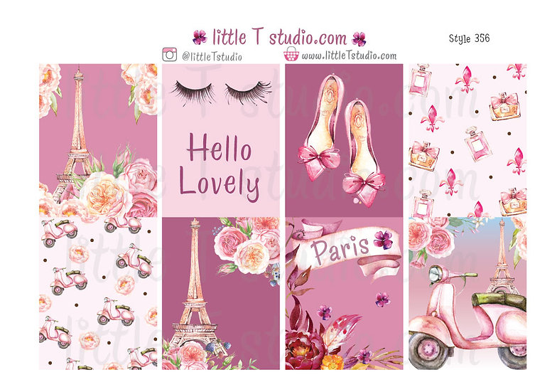 Lovely Paris - Erin Condren Vertical Sticker Sheet - Style 356