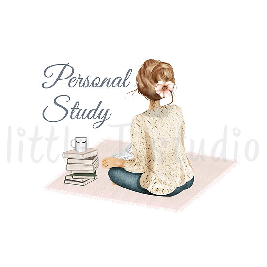 Cozy Home Light Brown Hair Personal Study Stickers - Style 1109 or 497M